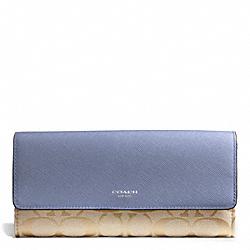 COACH F50859 Signature Slim Envelope Wallet SILVER/LT KHAKI/CORNFLOWER