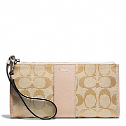 COACH SIGNATURE ZIPPY WALLET - SILVER/LT KHAKI/PEACH ROSE - F50871