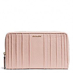 COACH MADISON  PINTUCK LEATHER CONTINENTAL ZIP WALLET - LIGHT GOLD/PEACH ROSE - F50909
