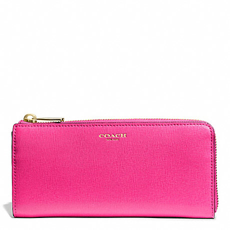 Coach F50923 Saffiano Leather Slim Zip Wallet Light Gold Pink Ruby