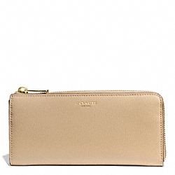 COACH F50923 Saffiano Leather Slim Zip Wallet LIGHT GOLD/TAN