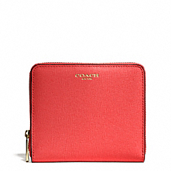 COACH F50924 Medium Saffiano Leather Continental Zip Wallet LIGHT GOLD/LOVE RED