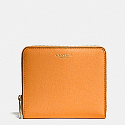 COACH F50924 Medium Saffiano Leather Continental Zip Wallet  LIGHT GOLD/BRIGHT MANDARIN