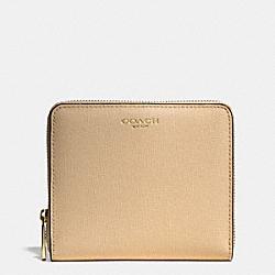COACH F50924 Medium Saffiano Leather Continental Zip Wallet LIGHT GOLD/TAN