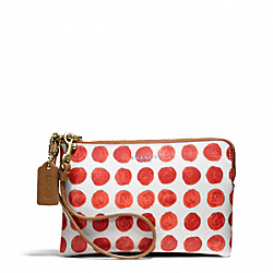 COACH F50933 Bleecker Small Wristlet In Painted Dot Coated Canvas BRASS/LOVE RED MULTICOLOR