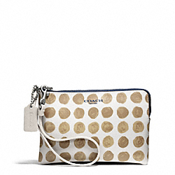 COACH F50933 Bleecker Painted Dot Coated Canvas Small Wristlet SILVER/TAN MULTI