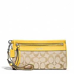 COACH F50956 Signature Large Wristlet SILVER/LIGHT GOLDGHT KHAKI/SUNGLOW