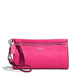 BLEECKER PEBBLED LEATHER LARGE WRISTLET - f50959 - SILVER/PINK RUBY