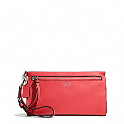 COACH F50959 Bleecker Pebbled Leather Large Wristlet SILVER/LOVE RED