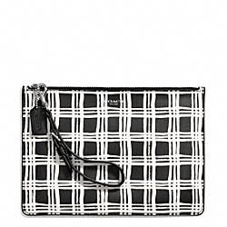 COACH F50966 Bleecker Black And White Print Coated Canvas Flat Zip Case