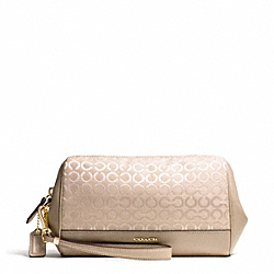 COACH F50983 Madison Op Art Pearlescent Fabric Zip Top Large Wristlet LIGHT GOLD/PEACH ROSE