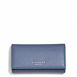 COACH F51001 Saffiano Leather 4 Ring Key Case SILVER/CORNFLOWER
