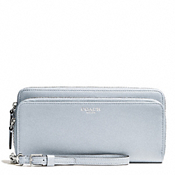 COACH F51043 Bleecker Leather Double Accordion Zip Wallet SILVER/POWDER BLUE
