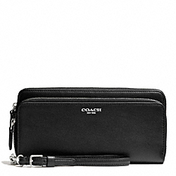 COACH F51043 Bleecker Leather Double Accordion Zip Wallet SILVER/BLACK