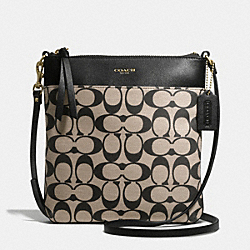 COACH F51055 - PRINTED SIGNATURE FABRIC NORTH/SOUTH SWINGPACK BRASS/KHAKI BLACK/BLACK