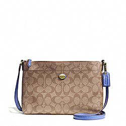 COACH F51065 Peyton East/west Swingpack In Signature Fabric BRASS/KHAKI/PORCELAIN BLUE