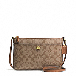 COACH F51065 - PEYTON SIGNATURE BRINN EAST/WEST SWINGPACK BRASS/KHAKI/SADDLE