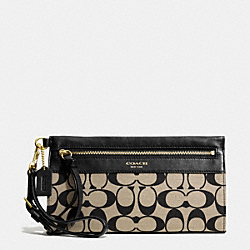 COACH F51071 Large Wristlet In Printed Signature BRASS/KHAKI BLACK/BLACK