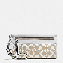 COACH F51071 Legacy Large Wristlet In Printed Signature Fabric  SILVER/IVORY NEW KHAKI/WHITE