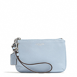 COACH F51084 Bleecker Leather Small Wristlet SILVER/POWDER BLUE