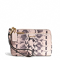 COACH F51095 Madison Two-tone Python Embossed Leather Double Zip Wristlet LIGHT GOLD/BLUSH