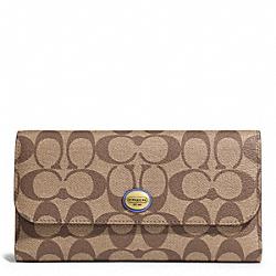 COACH F51103 Peyton Signature Checkbook Wallet BRASS/KHAKI/PORCELAIN BLUE