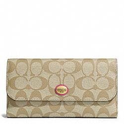 COACH F51103 Peyton Checkbook In Signature Fabric BRASS/LT KHAKI/POMEGRANATE