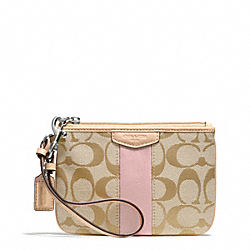 COACH F51106 Signature Stripe Small Wristlet SILVER/LIGHT KHAKI/SHELL PINK
