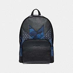 COACH F51124 - HOUSTON BACKPACK WITH PATCHWORK BLACK MULTI/BLACK ANTIQUE NICKEL