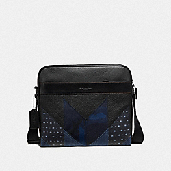 CHARLES CAMERA BAG WITH PATCHWORK - F51125 - BLACK MULTI/BLACK ANTIQUE NICKEL