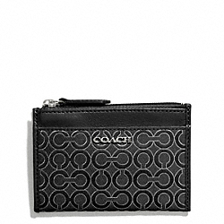 COACH F51131 Madison Mini Skinny In Op Art Pearlescent Fabric SILVER/BLACK