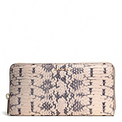 COACH F51134 Madison Two Tone Python Embossed Leather Accordion Zip Wallet