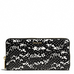 MADISON TWO-TONE PYTHON EMBOSSED LEATHER ACCORDION ZIP WALLET - f51134 - LIGHT GOLD/BLACK