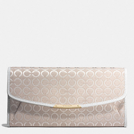 COACH f51135 MADISON SLIM ENVELOPE WALLET IN PEARLESCENT OP ART FABRIC LIGHT GOLD/NEW KHAKI