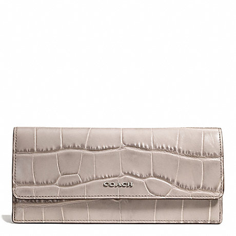 Coach F51137 Madison Croc Embossed Soft Wallet Silver