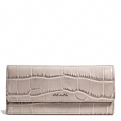COACH F51137 Madison Croc Embossed Soft Wallet SILVER/GREY BIRCH