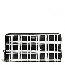 COACH F51139 Bleecker Black And White Print Coated Canvas Accordion Zip Wallet