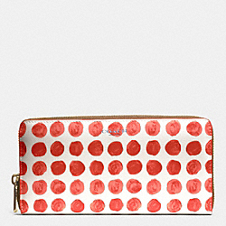 COACH F51144 Bleecker  Painted Dot Coated Canvas Accordion Zip Wallet BRASS/LOVE RED MULTICOLOR