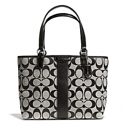 COACH F51156 - SIGNATURE STRIPE 12CM TOP HANDLE TOTE ONE-COLOR