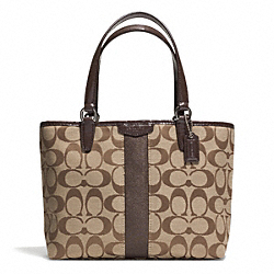 COACH F51156 - SIGNATURE STRIPE TOP HANDLE TOTE SILVER/KHAKI/MAHOGANY
