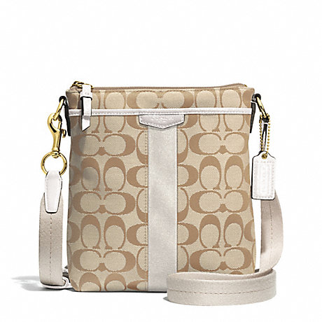 COACH F51157 SIGNATURE STRIPE NORTH/SOUTH SWINGPACK BRASS/LIGHT-KHAKI/IVORY