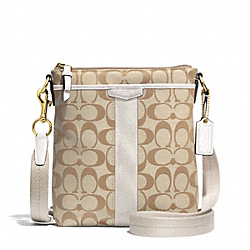 SIGNATURE STRIPE NORTH/SOUTH SWINGPACK - f51157 - BRASS/LIGHT KHAKI/IVORY