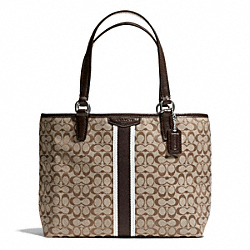COACH F51162 Signature Stripe 6cm Top Handle Tote