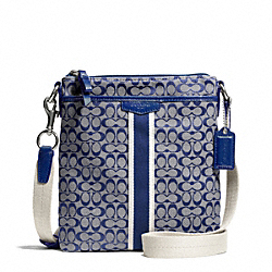 COACH F51163 - SIGNATURE STRIPE 6CM NORTH/SOUTH SWINGPACK SILVER/NAVY/NAVY
