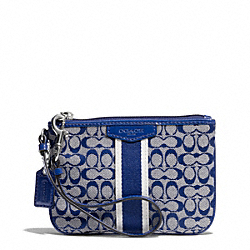 COACH F51164 Signature Stripe 6cm Small Wristlet SILVER/NAVY/NAVY