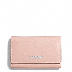 COACH BLEECKER LEATHER 6-RING KEY CASE - SILVER/PEACH ROSE - F51167