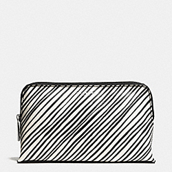 COACH F51168 Bleecker Medium Cosmetic Case In Black And White Print Coated Canvas  SILVER/WHITE MULTICOLOR