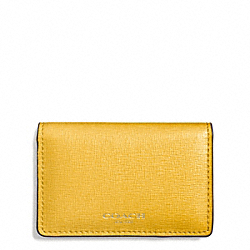 SAFFIANO LEATHER BUSINESS CARD CASE - f51171 - LIGHT GOLD/SUNGLOW