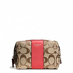 COACH F51172 Signature Square Medium Cosmetic Case SILVER/KHAKI/LOVE RED