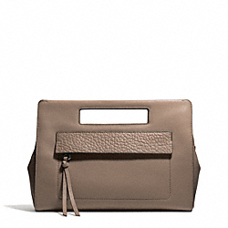 BLEECKER LEATHER  POCKET CLUTCH - f51194 - SILVER/SILT